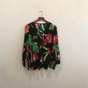 Tropical floral print flowy top size XL